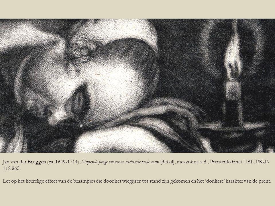 Jan van der Bruggen (ca. 1649-1714), Slapende jonge vrouw en lachende oude man [detail], mezzotint, z.d., Prentenkabinet UBL, PK-P-112.865.